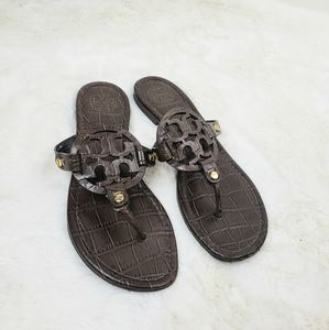 Tory Burch Crocodile embossed Miller sandals
